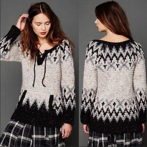 Free People Chunky Nordic Lace up Sweater